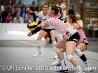 Monika Chrtianska (Sm'Aesch Pfeffingen #5); Volleyball NLA 2018-19 Playoffs Final Game 1 Sm'Aesch Pfeffingen vs NUC UC on April, 11, 2019 in Aesch (Switzerland).