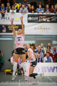Tess von Piekartz (Sm'Aesch Pfeffingen #2); Volleyball NLA 2018-19 Playoffs Final Game 1 Sm'Aesch Pfeffingen vs NUC UC on April, 11, 2019 in Aesch (Switzerland).