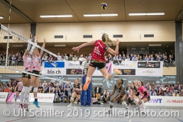 Tia Scambray (Viteos NUC #16); Volleyball NLA 2018-19 Playoffs Final Game 1 Sm'Aesch Pfeffingen vs NUC UC on April, 11, 2019 in Aesch (Switzerland).