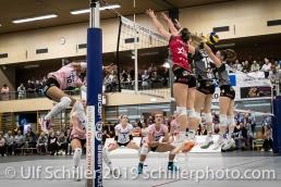Jessica Ventura (Sm'Aesch Pfeffingen #10) against triple block; Volleyball NLA 2018-19 Playoffs Final Game 1 Sm'Aesch Pfeffingen vs NUC UC on April, 11, 2019 in Aesch (Switzerland).