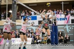 Sarah Troesch (Viteos NUC #12); Volleyball NLA 2018-19 Playoffs Final Game 1 Sm'Aesch Pfeffingen vs NUC UC on April, 11, 2019 in Aesch (Switzerland).