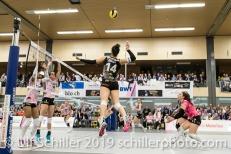 Angriff von Viteos NUC durch Julie Lengweiler (Viteos NUC #14); Volleyball NLA 2018-19 Playoffs Final Game 1 Sm'Aesch Pfeffingen vs NUC UC on April, 11, 2019 in Aesch (Switzerland).