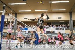 Julie Lengweiler (Viteos NUC #14); Volleyball NLA 2018-19 Playoffs Final Game 1 Sm'Aesch Pfeffingen vs NUC UC on April, 11, 2019 in Aesch (Switzerland).