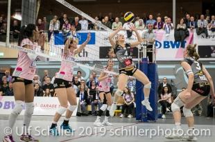 Meline Pierret (Viteos NUC #4); Volleyball NLA 2018-19 Playoffs Final Game 1 Sm'Aesch Pfeffingen vs NUC UC on April, 11, 2019 in Aesch (Switzerland).