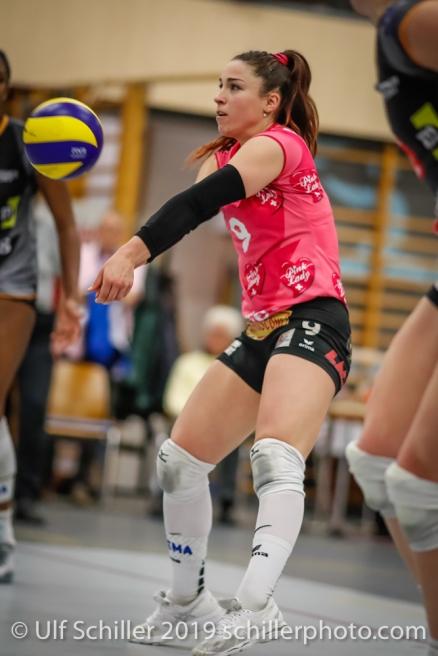Tabea Dailliard (Viteos NUC #9); Volleyball NLA 2018-19 Playoffs Final Game 1 Sm'Aesch Pfeffingen vs NUC UC on April, 11, 2019 in Aesch (Switzerland).