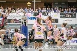 Angriff durch Dora Grozer (Sm'Aesch Pfeffingen #9); Volleyball NLA 2018-19 Playoffs Final Game 1 Sm'Aesch Pfeffingen vs NUC UC on April, 11, 2019 in Aesch (Switzerland).