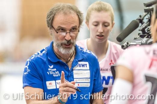 Andreas Vollmer (Headcoach Sm'Aesch Pfeffingen); Volleyball NLA 2018-19 Final Playoffs Game 3 Sm'Aesch Pfeffingen vs Viteos NUC on April, 22, 2019 in Aesch (Switzerland).