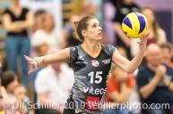 Segolene Girard (Viteos NUC #15); Volleyball NLA 2018-19 Final Playoffs Game 3 Sm'Aesch Pfeffingen vs Viteos NUC on April, 22, 2019 in Aesch (Switzerland).