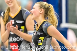 Meline Pierret (Viteos NUC #4); Volleyball NLA 2018-19 Final Playoffs Game 3 Sm'Aesch Pfeffingen vs Viteos NUC on April, 22, 2019 in Aesch (Switzerland).