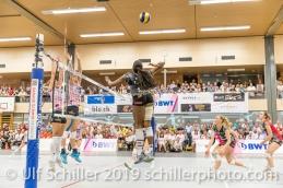 Kyra Holt (Viteos NUC #7) in action; Volleyball NLA 2018-19 Final Playoffs Game 3 Sm'Aesch Pfeffingen vs Viteos NUC on April, 22, 2019 in Aesch (Switzerland).