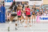 Jubel bei Viteos NUC nach Gewinn von Satz 2; Volleyball NLA 2018-19 Final Playoffs Game 3 Sm'Aesch Pfeffingen vs Viteos NUC on April, 22, 2019 in Aesch (Switzerland).