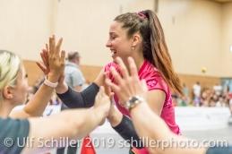 Tabea Dailliard (Viteos NUC #9); Volleyball NLA 2018-19 Final Playoffs Game 3 Sm'Aesch Pfeffingen vs Viteos NUC on April, 22, 2019 in Aesch (Switzerland).