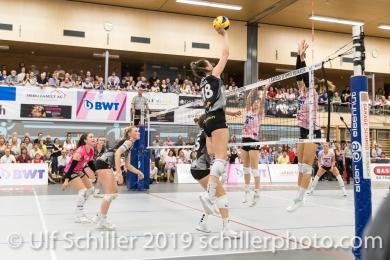 Martenne Bettendorf (Viteos NUC #18); Volleyball NLA 2018-19 Final Playoffs Game 3 Sm'Aesch Pfeffingen vs Viteos NUC on April, 22, 2019 in Aesch (Switzerland).