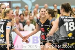 Jubel bei Viteos NUC mit Xenia Staffelbach (Viteos NUC #17) (Mitte) Volleyball NLA 2018-19 Final Playoffs Game 3 Sm'Aesch Pfeffingen vs Viteos NUC on April, 22, 2019 in Aesch (Switzerland).