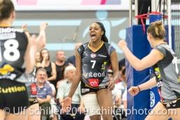 Kyra Holt (Viteos NUC #7); Volleyball NLA 2018-19 Final Playoffs Game 3 Sm'Aesch Pfeffingen vs Viteos NUC on April, 22, 2019 in Aesch (Switzerland).