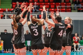 Swiss Team sheering after block point; Montreux Volley Masters Switzerland vs Italy 2019 on May, 16, 2019 in Montreux (Switzerland).