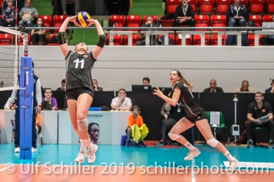Sarah Troesch (Switzerland #11) setting for Madlaina Matter (Switzerland #6); Montreux Volley Masters Switzerland vs Italy 2019 on May, 16, 2019 in Montreux (Switzerland).
