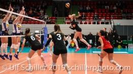 Laura Kuenzler c (Switzerland #14) backline spike; Montreux Volley Masters Switzerland vs Italy 2019 on May, 16, 2019 in Montreux (Switzerland).