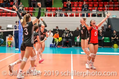 Switzerland cheering after big point; Montreux Volley Masters Switzerland vs Italy 2019 on May, 16, 2019 in Montreux (Switzerland).