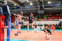 Livia Zaugg (Switzerland #3) attacking; Montreux Volley Masters Switzerland vs Italy 2019 on May, 16, 2019 in Montreux (Switzerland).