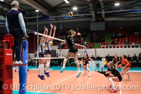 Attack by Livia Zaugg (Switzerland #3); Montreux Volley Masters Switzerland vs Italy 2019 on May, 16, 2019 in Montreux (Switzerland).
