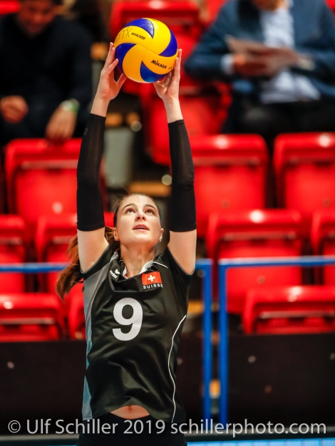 Sarina Brunner (Switzerland #9); Montreux Volley Masters Switzerland vs Italy 2019 on May, 16, 2019 in Montreux (Switzerland).