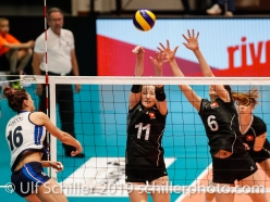 Lucia Bosetti (Italy #16) against block by Sarah Troesch (Switzerland #11) and Madlaina Matter (Switzerland #6); Montreux Volley Masters Switzerland vs Italy 2019 on May, 16, 2019 in Montreux (Switzerland).