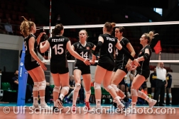 Swiss National Team: l2r: Xenia Staffelbach (Switzerland #13), Chiara Petitat (Switzerland #15), Laura Kuenzler c (Switzerland #14), Maja Storck (Switzerland #8), Gabi Schottroff (Switzerland #4), Sarah Troesch (Switzerland #11); Montreux Volley Masters Switzerland vs Italy 2019 on May, 16, 2019 in Montreux (Switzerland).