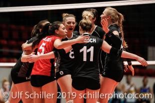 Swiss National Team with Thays Deprati (Switzerland #5), Maja Storck (Switzerland #8), Sarah Troesch (Switzerland #11), Laura Kuenzler (Switzerland #14) Montreux Volley Masters Switzerland vs Italy 2019 on May, 16, 2019 in Montreux (Switzerland).