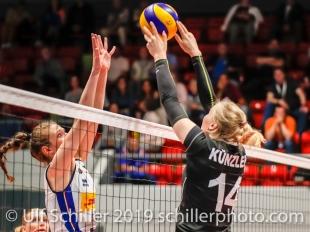 Laura Kuenzler c (Switzerland #14) against Ofelia Malinov c (Italy #5); ; Montreux Volley Masters Switzerland vs Italy 2019 on May, 16, 2019 in Montreux (Switzerland).