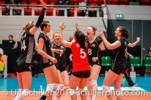 Point for Switzerland: left 2 right: Laura Kuenzler c (Switzerland #14), Gabi Schottroff (Switzerland #4), Meline Pierret (Switzerland #7), Thays Deprati (Switzerland #5),, Maja Storck (Switzerland #8), Chiara Petitat (Switzerland #15); Montreux Volley Masters Switzerland vs Italy 2019 on May, 16, 2019 in Montreux (Switzerland).