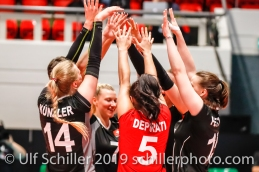 Point after block for Switzerland; Montreux Volley Masters Switzerland vs Italy 2019 on May, 16, 2019 in Montreux (Switzerland).