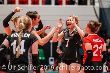 Set point for Switzerland with Meline Pierret (Switzerland #7) (center); Montreux Volley Masters Switzerland vs Italy 2019 on May, 16, 2019 in Montreux (Switzerland).