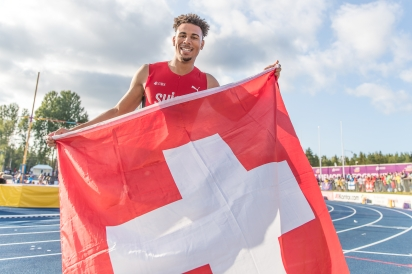 Jason Joseph after winning Gold at the U23 Europeans in Gävle. (Photo: Ulf Schiller)
