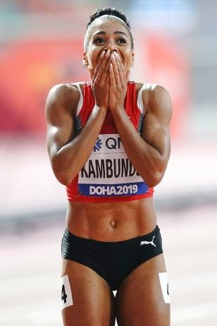Mujinga Kambundji after winning the Bronze medal at the Worlds in Doha. (Poto: Axel Kohring)