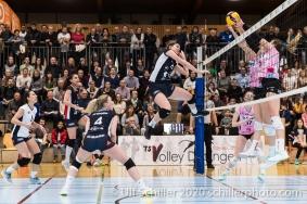 Samantha Cash (TS Volley Duedingen Powercats, #18) in action Volleyball Swiss Cup Semifinal Volley Duedingen vs Sm'Aesch Pfeffingen on February 23, 2020 in Duedingen (Switzerland)