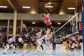 Taylor Fricano (Sm'Aesch Pfeffingen #5) in action Volleyball Swiss Cup Semifinal Volley Duedingen vs Sm'Aesch Pfeffingen on February 23, 2020 in Duedingen (Switzerland)