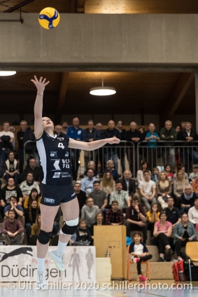 Meline Pierret (TS Volley Duedingen Powercats, #4) in action Volleyball Swiss Cup Semifinal Volley Duedingen vs Sm'Aesch Pfeffingen on February 23, 2020 in Duedingen (Switzerland)