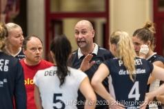 Dario Bettello (TS Volley Duedingen Powercats) during time out Volleyball Swiss Cup Semifinal Volley Duedingen vs Sm'Aesch Pfeffingen on February 23, 2020 in Duedingen (Switzerland)
