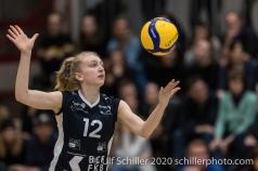 Lea Zurlinden (TS Volley Duedingen Powercats, #12) in action Volleyball Swiss Cup Semifinal Volley Duedingen vs Sm'Aesch Pfeffingen on February 23, 2020 in Duedingen (Switzerland)