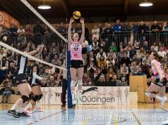 Annalea Maeder (Sm'Aesch Pfeffingen #17) in action Volleyball Swiss Cup Semifinal Volley Duedingen vs Sm'Aesch Pfeffingen on February 23, 2020 in Duedingen (Switzerland)