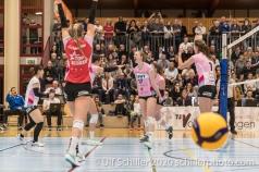 Point for Sm'Aesch with Annalea Maeder (Sm'Aesch Pfeffingen #17) in the center Volleyball Swiss Cup Semifinal Volley Duedingen vs Sm'Aesch Pfeffingen on February 23, 2020 in Duedingen (Switzerland)