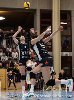 Meline Pierret (TS Volley Duedingen Powercats, #4) and Segolene Girard (TS Volley Duedingen Powercats, #15) Volleyball Swiss Cup Semifinal Volley Duedingen vs Sm'Aesch Pfeffingen on February 23, 2020 in Duedingen (Switzerland)