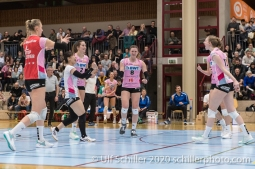 Point for Sm'Aesch, l.t.r.: Taylor Fricano (Sm'Aesch Pfeffingen #5) An Saita (Sm'Aesch Pfeffingen #7) Luisa Schirmer (Sm'Aesch Pfeffingen #2) Monika Chrtianska (Sm'Aesch Pfeffingen #8) Annalea Maeder (Sm'Aesch Pfeffingen #17) Volleyball Swiss Cup Semifinal Volley Duedingen vs Sm'Aesch Pfeffingen on February 23, 2020 in Duedingen (Switzerland)