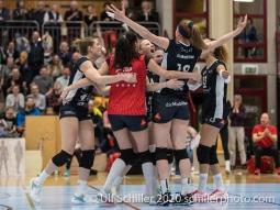 Point for TS Volley Duedingen Powercats Volleyball Swiss Cup Semifinal Volley Duedingen vs Sm'Aesch Pfeffingen on February 23, 2020 in Duedingen (Switzerland)