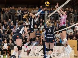 Ines Granvorka (TS Volley Duedingen Powercats, #13) in action Volleyball Swiss Cup Semifinal Volley Duedingen vs Sm'Aesch Pfeffingen on February 23, 2020 in Duedingen (Switzerland)