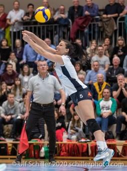 Thays Vanessa Deprati (TS Volley Duedingen Powercats, #5) in action Volleyball Swiss Cup Semifinal Volley Duedingen vs Sm'Aesch Pfeffingen on February 23, 2020 in Duedingen (Switzerland)
