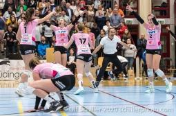 Match point for Sm'Aesch, l.t.r.: /S1/ Monika Chrtianska (Sm'Aesch Pfeffingen #8) Taylor Fricano (Sm'Aesch Pfeffingen #5) Annalea Maeder (Sm'Aesch Pfeffingen #17) Andreas Vollmer (Sm'Aesch Pfeffingen Head Coach) Luisa Schirmer (Sm'Aesch Pfeffingen #2) Volleyball Swiss Cup Semifinal Volley Duedingen vs Sm'Aesch Pfeffingen on February 23, 2020 in Duedingen (Switzerland)