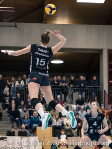 Segolene Girard (TS Volley Duedingen Powercats, #15) Volleyball Swiss Championship Playoff Quarterfinal Volley Duedingen vs Cheseaux on February 26, 2020 in Duedingen (Switzerland)