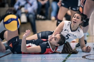 Simona Dimitrova (TS Volley Duedingen Powercats, #7), Thays Vanessa Deprati (TS Volley Duedingen Powercats, #5) and the ball Volleyball Swiss Championship Playoff Quarterfinal Volley Duedingen vs Cheseaux on February 26, 2020 in Duedingen (Switzerland)